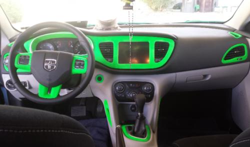 plastidip blaze green car dash